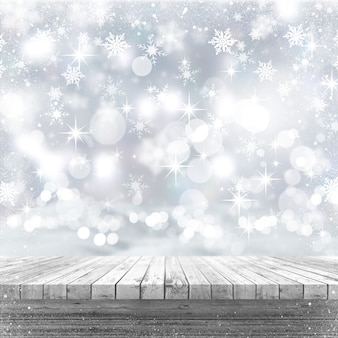 Weißer holztisch 3d, der heraus zu einem weihnachtshintergrund schaut