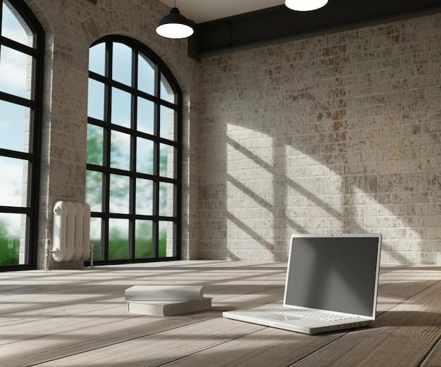 Weißer innenraum und computer