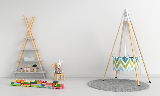 Weißer kinderrauminnenraum für modell