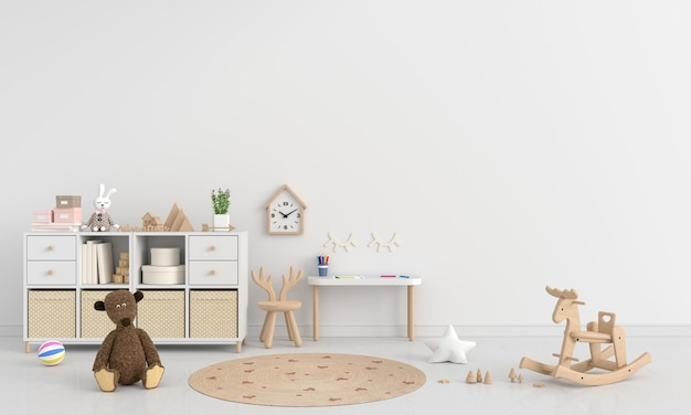Weißer kinderzimmerinnenraum mit kopienraum 3d-rendering