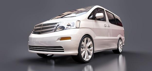 Weißer kleiner minivan für den personentransport. 3d-rendering.