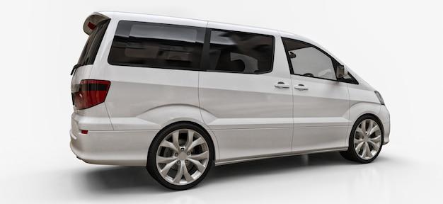 Weißer kleiner minivan für den personentransport. dreidimensionale abbildung auf einem glatten weißen hintergrund