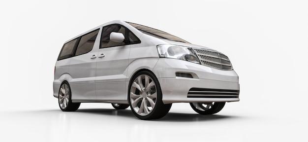 Weißer kleiner minivan für den personentransport. dreidimensionale darstellung auf einer glänzend weißen fläche