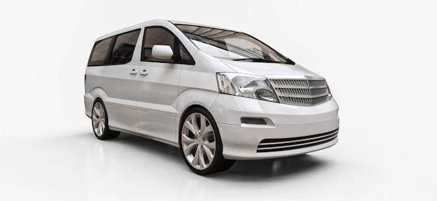 Weißer kleiner minivan für den personentransport
