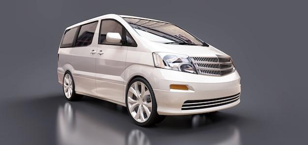 Weißer kleiner minivan für den transport von personen dreidimensional auf glänzendem grau