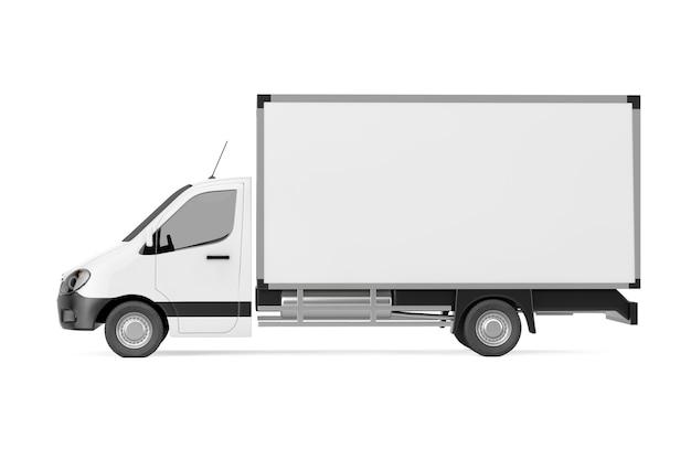 Weißer kommerzieller industrieller fracht-lieferwagen-lkw auf einem weißen hintergrund. 3d-rendering