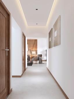 Weißer korridor im modernen stil mit holzbeschlägen. 3d-rendering.