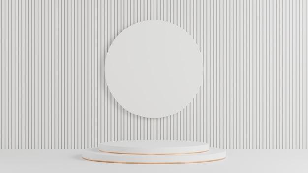 Weißer kreis podium für produktpräsentation auf weißem lattenwandhintergrund minimaler stil., 3d-modell und illustration.