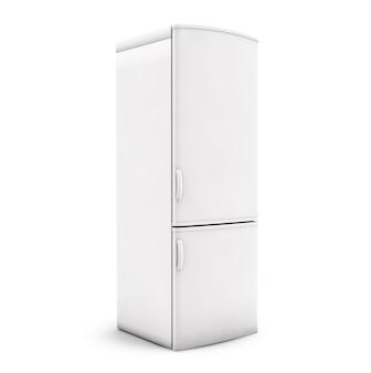 Weißer kühlschrank getrennt. 3d-rendering