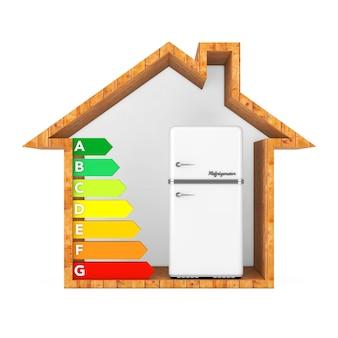 Weißer kühlschrank mit energieeffizienz-bewertungsdiagramm in abstrakten ökologischen holzhaus auf weißem hintergrund. 3d-rendering