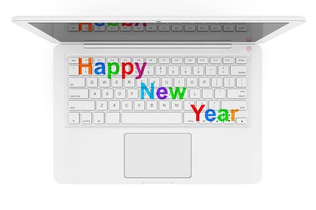 Weißer laptop mit happy new year-zeichen auf weißem hintergrund. 3d-rendering