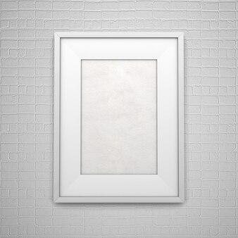 Weißer leerer bilderrahmen auf backsteinmauer
