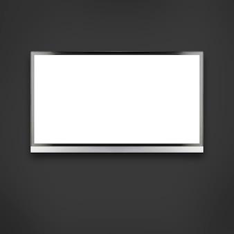 Weißer leerer hd-monitor auf dunklem hintergrund