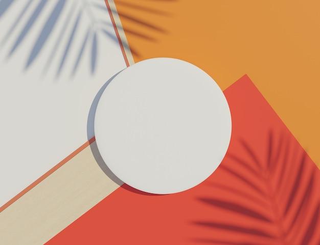 Weißer leerer zylinderrahmen mit pastell- und palmblattschattenszene.