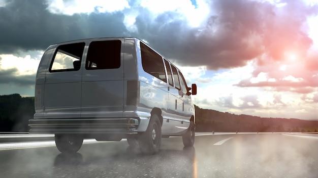 Weißer lieferwagen auf autobahntransport- und logistikkonzept