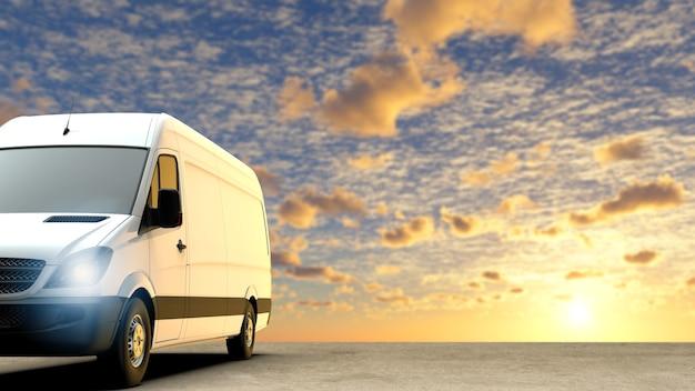 Weißer lieferwagen im sonnenuntergangshintergrund