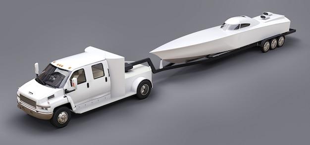 Weißer lkw mit anhänger für den transport des rennboots auf grau