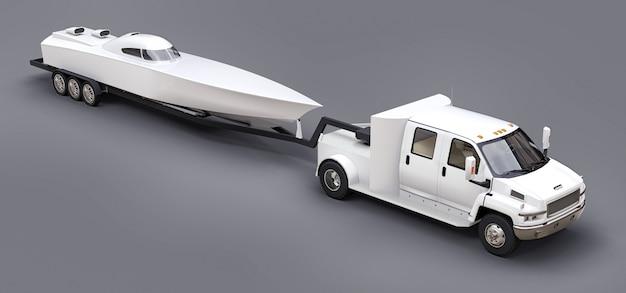 Weißer lkw mit anhänger zum transport eines rennbootes