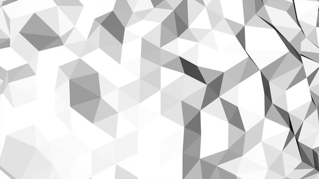 Weißer low-poly-abstrakter hintergrund, dreiecke geometrische form. eleganter und luxuriöser dynamischer stil für unternehmen, 3d-illustration