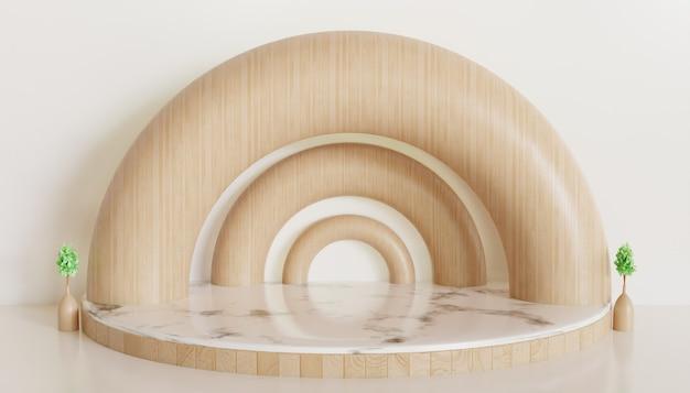 Weißer luxus minimalistischer bühnenschaufensterpodest für produkt, abstrakter geometrischer sockel 3d gerenderter hintergrund