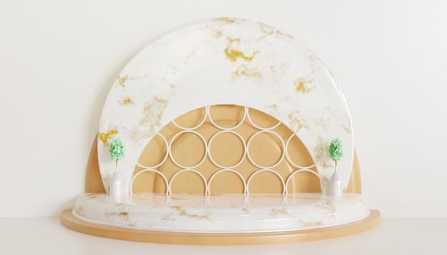 Weißer luxus minimalistischer bühnenschaufensterpodest für produkt, keramischer marmorholzsockel 3d gerenderter hintergrund