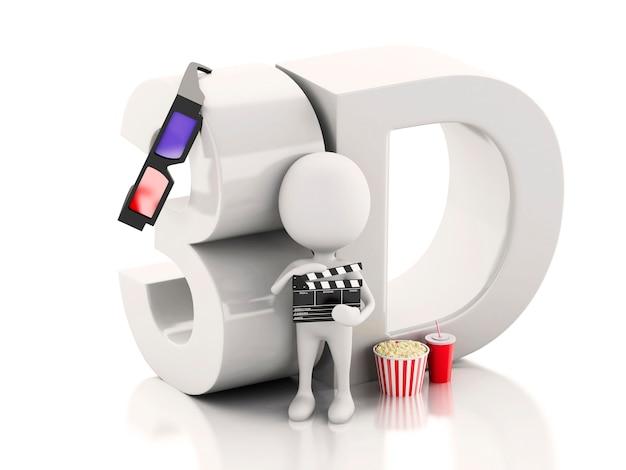 Weißer mann mit kino klöppel, popcorn, getränk und gläsern 3d