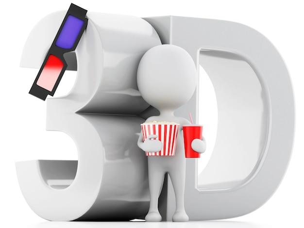 Weißer mann mit popcorn und getränk.
