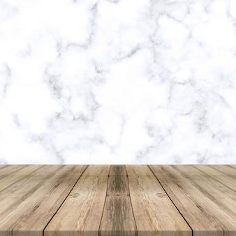 Weißer marmorhintergrund mit holzbodenproduktanzeigehintergrund