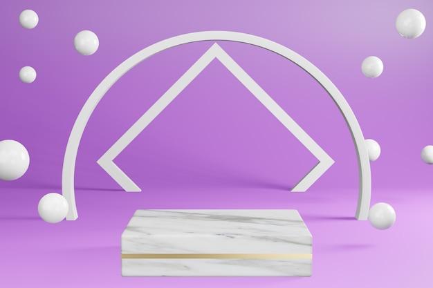 Weißer marmorsockelproduktständer auf purpur mit dekoration podiumanzeige, 3d-wiedergabe.