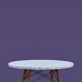 Weißer marmortisch oder produktständer für anzeigeprodukt auf lila hintergrund