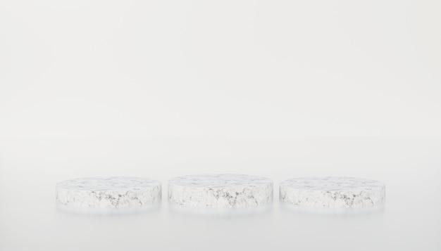 Weißer marmorzylinder minimalistisches podium in weiß isoliertem hintergrund 3d-darstellung rendering