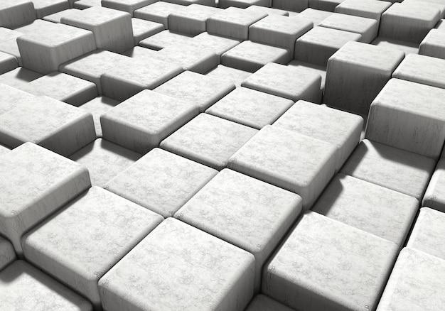 Weißer mauerwerkszementblock und steinhintergrund. architektur und abstraktes konzept perspektivische ansicht. 3d-illustrations-rendering