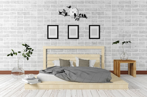 Weißer minimaler und dachbodenart-schlafzimmerinnenraum