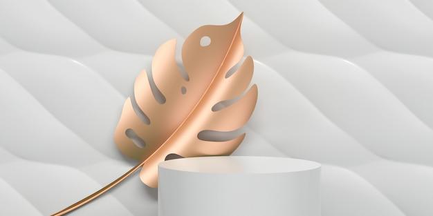 Weißer moderner abstrakter geometriehintergrund mit goldenem tropischem urlaub