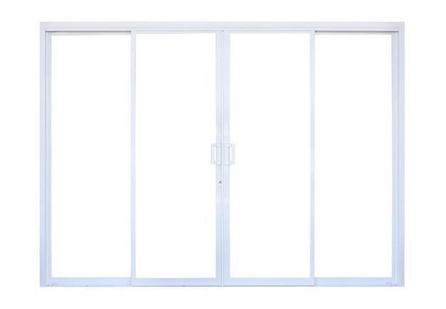 Weißer moderner doppelter glastürfensterrahmenfrontspeicher lokalisiert auf weißem hintergrund