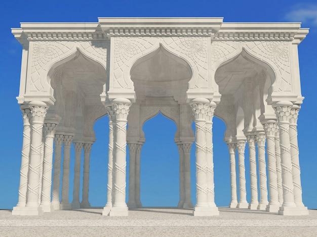 Weißer orientalischer arkadenpalast im arabischen stil