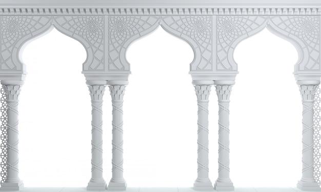 Weißer orientalischer säulengangpalast im arabischen stil.