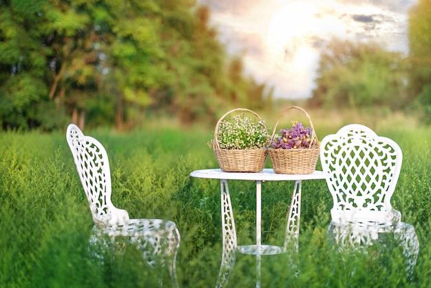 Weißer parkbankstuhl im grünen garten