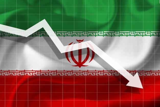 Weißer pfeil fällt vor dem hintergrund der flagge des iran