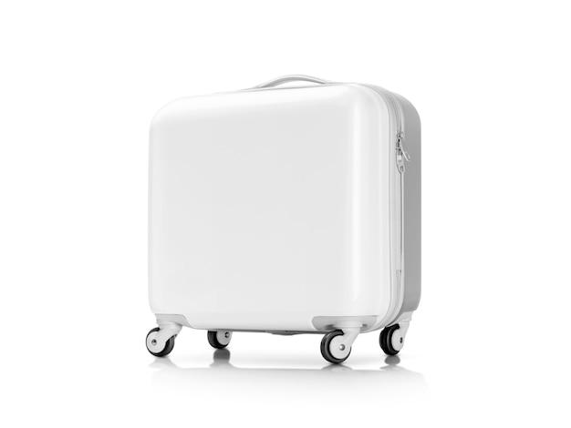 Weißer plastikkoffer oder gepäck getrennt auf weiß