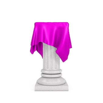 Weißer präsentationssäulensockel mit rosa seidentuch auf weißem hintergrund. 3d-rendering