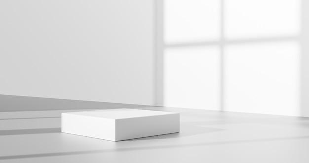 Weißer produkthintergrund oder leerer leerraum-raumdesign und minimale schattenanzeigeplattformbühne des fensterlichts auf innenpodiumsockelszenen-hintergrundstand mit studio-vitrine. 3d-rendering.