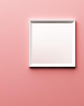 Weißer rahmen auf rosa lederbeschaffenheit 3d rendering