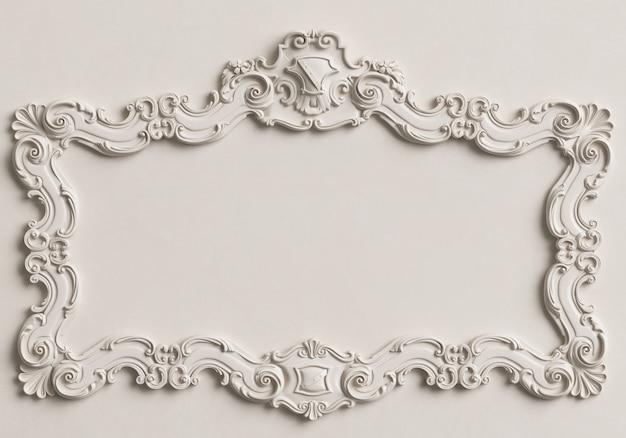 Weißer rahmen des klassischen spiegels auf der weißen wand. 3d-rendering