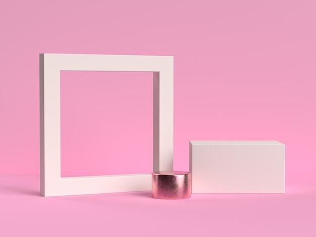 Weißer rahmen eingestellt auf einem rosa hintergrund