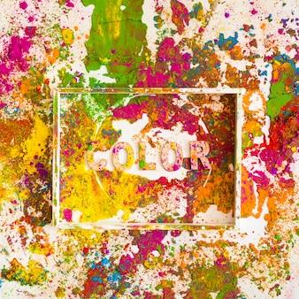 Weißer rahmen mit farbbeschriftung auf hellen trockenen farben