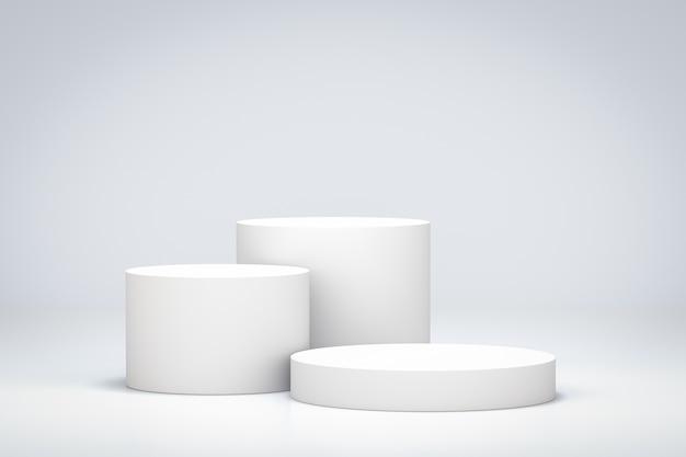 Weißer raum mit stehendem hintergrund des leeren produktregals. leeres podium oder sockeldisplay mit zylinderständerkonzept. 3d-illustration.