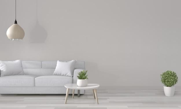 Weißer raum mit weißem sofa auf modernem rauminnenraum wiedergabe 3d