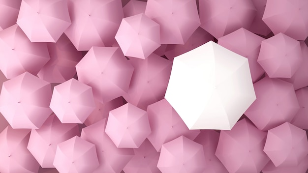 Weißer regenschirm auf vielen rosa regenschirmen. abbildung 3d.