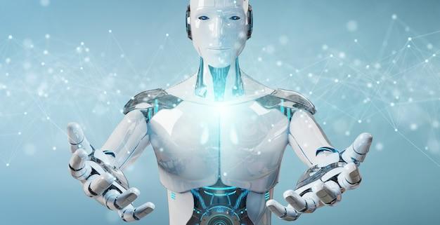 Weißer roboter, der sich hin- und herbewegende digitale netzwerkverbindungen mit punkten und linien verwendet